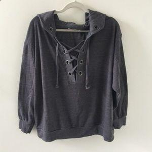 Ocean Drive Gray Lace Up Sweatshirt Hoodie
